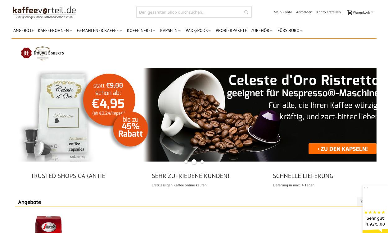 Kaffeevorteil - der günstige Online-Kaffeehändler