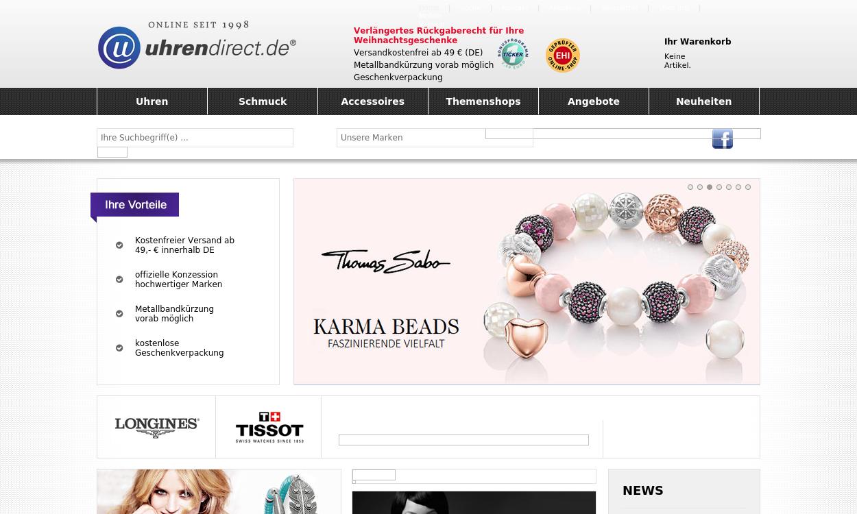 Uhrendirect.de: Markenuhren und Designerschmuck