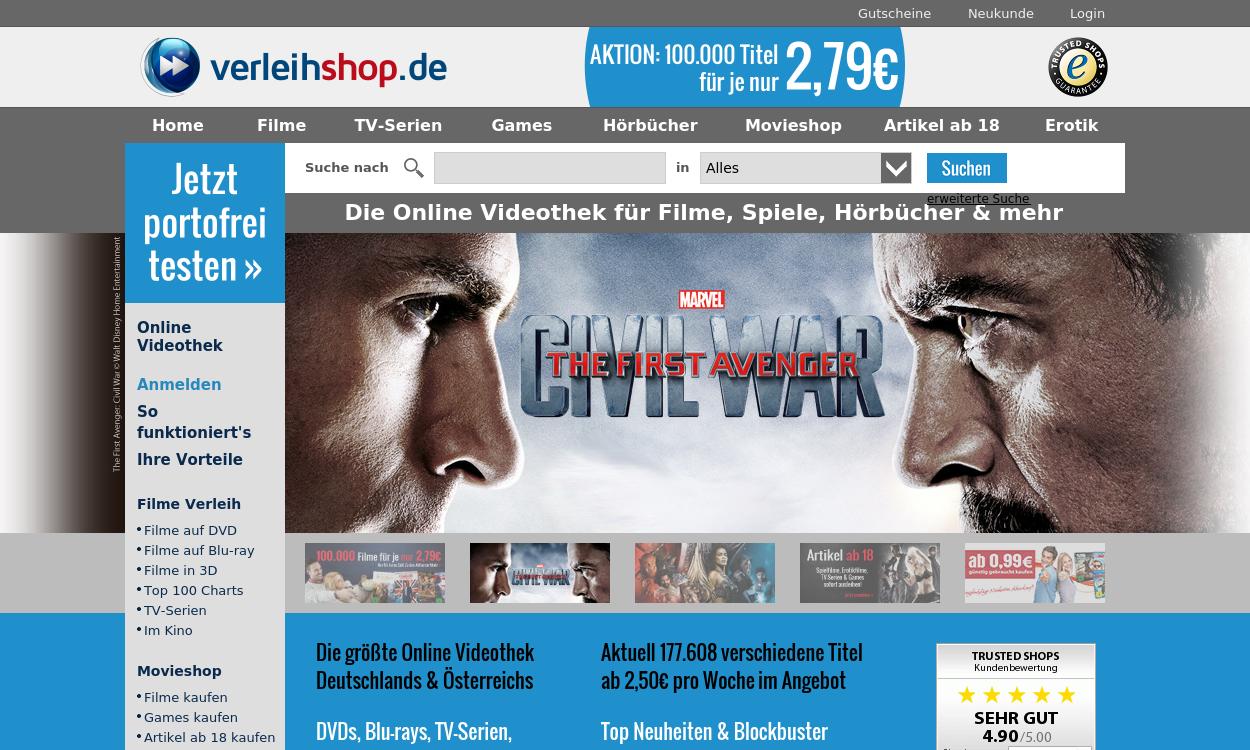 Verleihshop - Online Videothek für Filme & Games