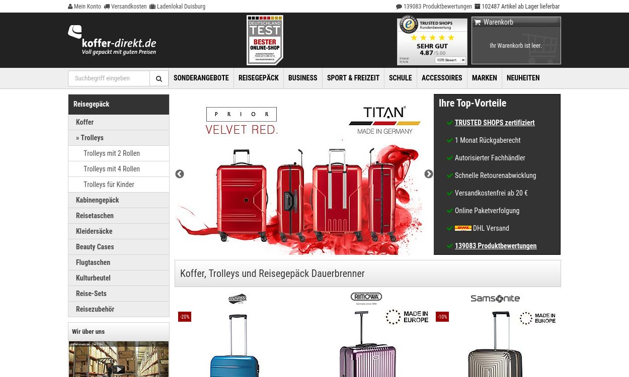 koffer-direkt.de - Voll gepackt mit guten Preisen