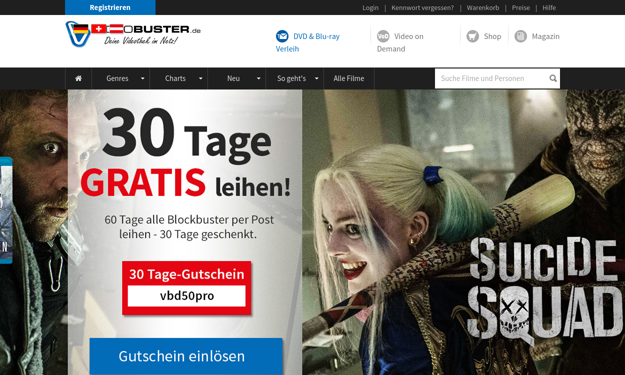 VideoBuster.de - DVD-Verleih & Video on Demand VOD