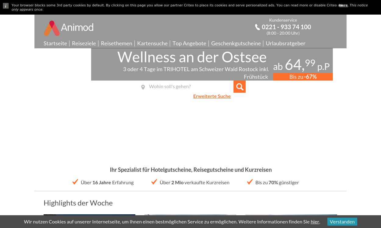 Animod.de migrated - Hotelgutscheine bei ANIMOD