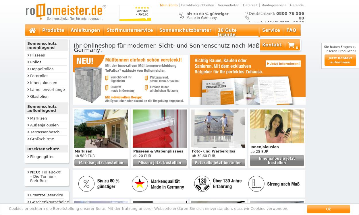 Rollomeister.de - Markisen, Plissees und Rollos